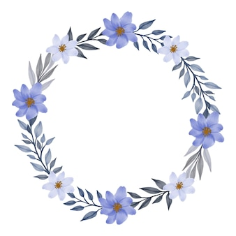 Grauer blumenkranz-kreisrahmen mit weißer und lila blumengrenze