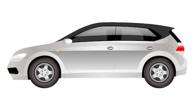 Grauer elektrischer schrägheckkarikatur. flaches farbobjekt des futuristischen familienautos. umweltfreundliche cuv auto seitenansicht. modernes umweltfreundliches automobil lokalisiert auf weißem hintergrund