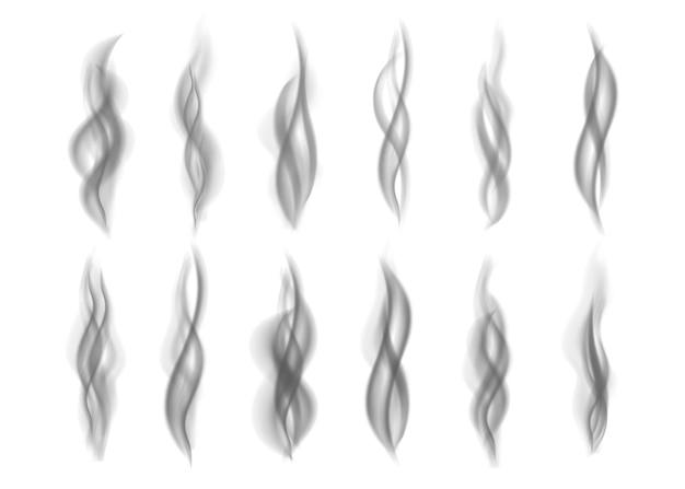 Grauer feuerrauch lokalisiert auf weißem hintergrund. dunkler dampf. realistische schwarze smog-vektortextur.