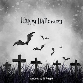 Grauer halloween-hintergrund des aquarells