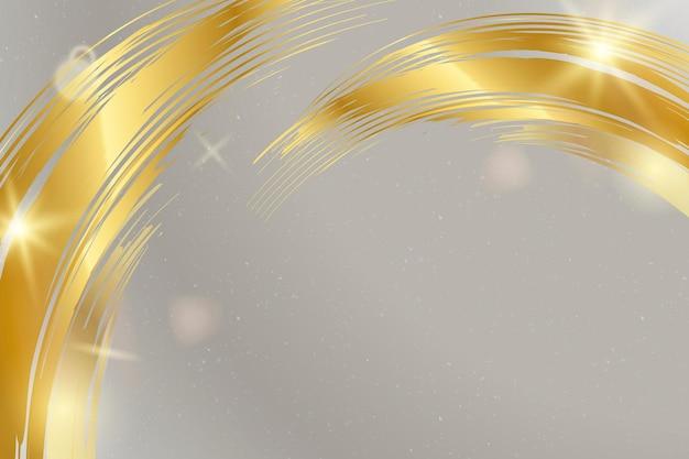 Grauer hintergrundvektor mit goldenem pinselstrich