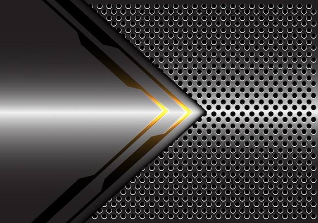 Grauer metallischer gelber lichtpfeilrichtungskreis-maschenhintergrund.