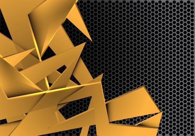 Grauer metallischer hexagonmaschenhintergrund der goldpolygonüberlappung.