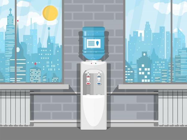 Grauer wasserkühler mit blauer flasche