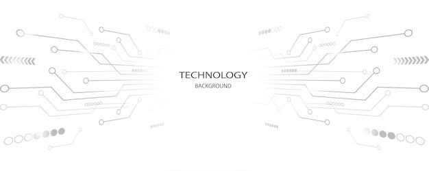 Grauer weißer abstrakter technologiehintergrund hi-tech-digitalverbindung