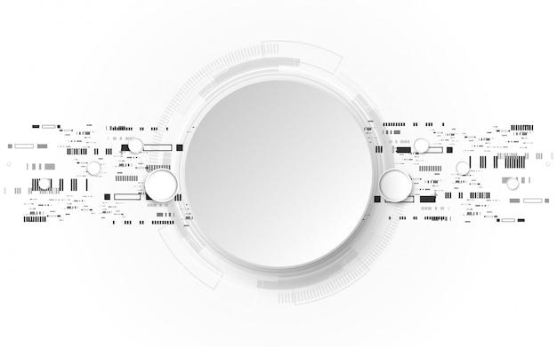 Grauer weißer abstrakter technologiehintergrund mit verschiedenen technologieelementen