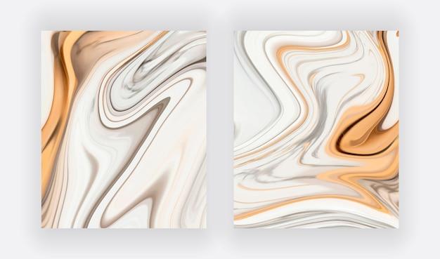 Grauer, weißer mit abstrakter satz der goldflüssigkeitstintenmalerei