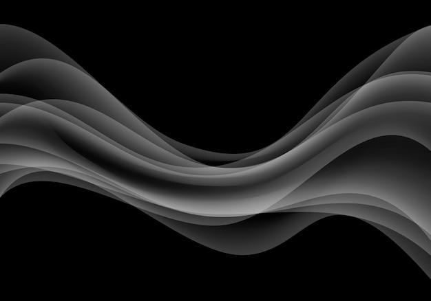 Grauer wellenkurvenrauch auf schwarzem hintergrund.