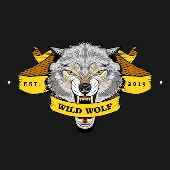Grauer wolf embleme mit bändern in vintage, retro im altem stil, handgezeichnete gravur.