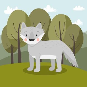Grauer wolf im cartoon-stil, der im wald steht nettes tier für kinder
