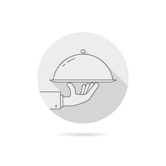 Graues catering-service-logo mit schatten. konzept der hochzeitspräsentation, bankett, lecker, lecker, heiße cloche, event-verkauf. flacher stil trendmarke grafikdesign-vektor-illustration auf weißem hintergrund