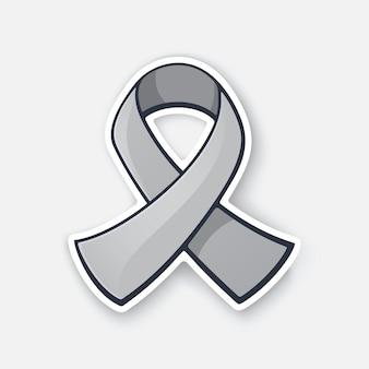 Graues farbband internationales symbol für das bewusstsein von hirntumoren vector illustration