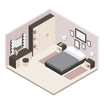 Graues isometrisches schlafzimmer-interieur