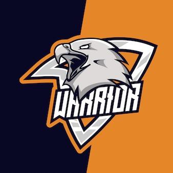Graues majestätisches eagle warrior e-sport-maskottchen-logo