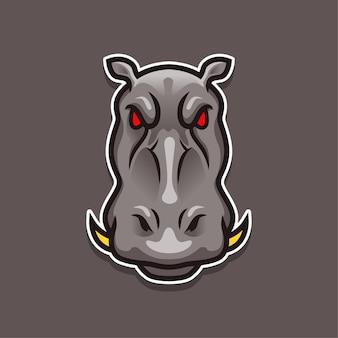 Graues nilpferd mit e-sport-maskottchen-logo-entwurfsschablone der roten augen