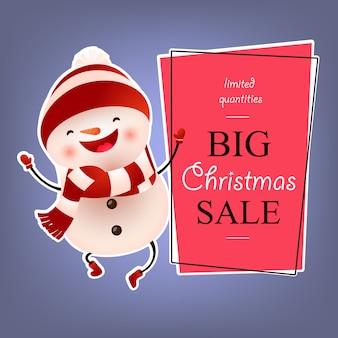 Graues plakatdesign des großen weihnachtsverkaufs mit tanzenschneemann