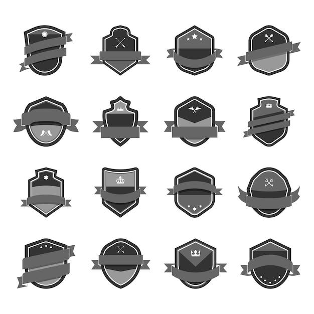 Graues schild-symbol mit banner-vektoren verschönert