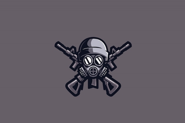 Graues sport-logo des soldaten-e