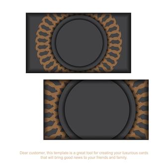 Graues visitenkartendesign mit griechischer verzierung. stilvolle visitenkarten mit platz für ihren text und vintage-muster.
