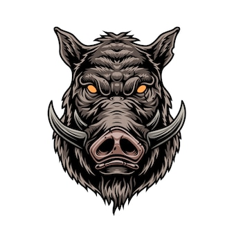 Grausame bunte weinlesevorlage des wildschweins