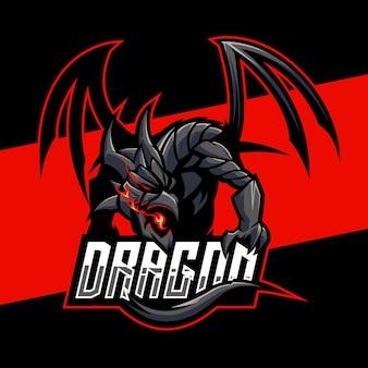 Grausamer drache esports logo design. illustration des grausamen drachenmaskottchenentwurfs. emblem design