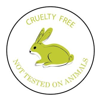 Grausamkeit frei. nicht an tieren getestet. grünes kaninchensymbol mit schriftzug grausamkeitsfrei. ein symbol für produktionen, die nicht an tieren getestet wurden. ein symbol mit einem kaninchen isoliert auf weißem hintergrund. vektor
