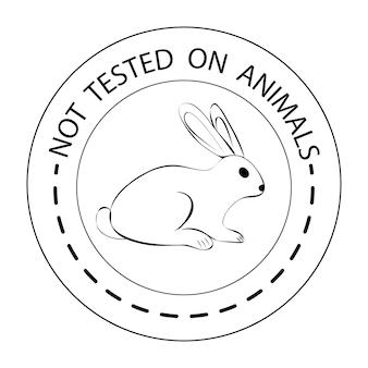 Grausamkeit frei. umriss-kaninchensymbol mit nicht an tieren getestetem schriftzug. symbol für produkte, die nicht an tieren getestet wurden. schwarzes rundes symbol mit einem kaninchen. vektor