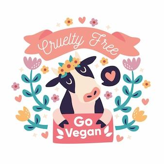 Grausamkeitsfreie und vegane illustration mit charakter