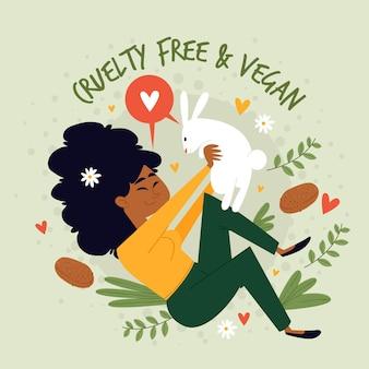 Grausamkeitsfreie und vegane nachricht mit frau, die einen hasen hält, illustriert