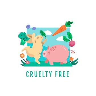 Grausamkeitsfreies konzept mit tieren