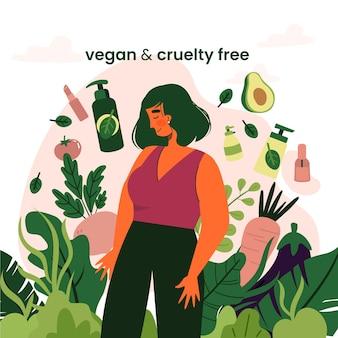 Grausamkeitsfreies und veganes konzept illustriert