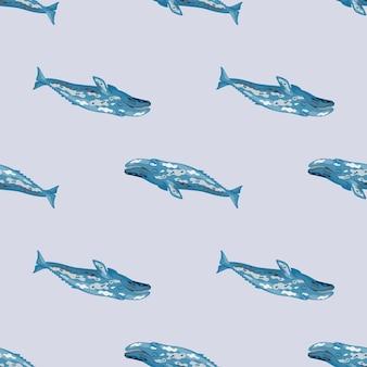 Grauwal des nahtlosen musters auf hellem hintergrund. vorlage der zeichentrickfigur des ozeans für stoff.