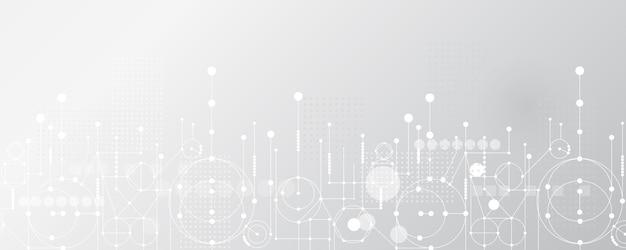Grauweiß abstrakter technologiehintergrund hi-tech-digital verbinden high-tech-kommunikation