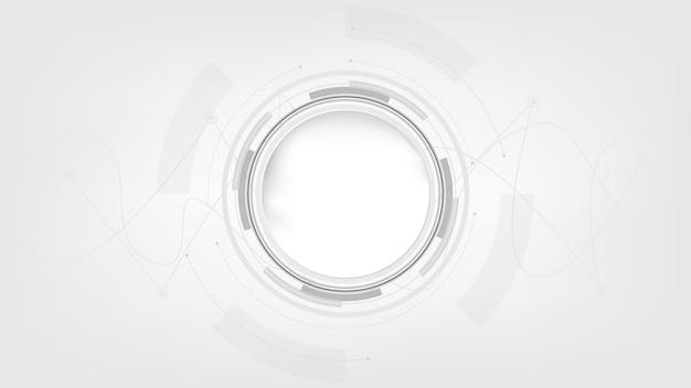 Grauweiß abstrakter technologiehintergrund, hi-tech-digitalverbindung, kommunikation, hochtechnologiekonzept, wissenschaft, technologiehintergrund