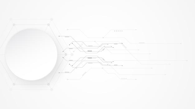 Grauweiß abstrakter technologiehintergrund mit verschiedenen technologieelementen hi-tech-kommunikationskonzept-innovationshintergrund kreisen sie leeren raum für ihren text ein