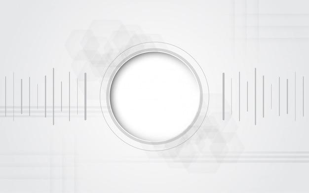 Grauweiß abstrakter technologiehintergrund mit verschiedenen technologieelementen high-teches kommunikationskonzept-innovationshintergrund