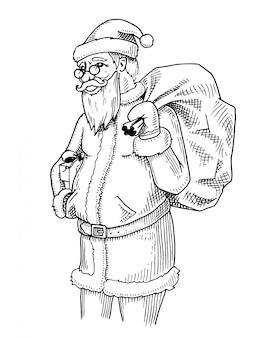 Gravierte hand gezeichnet in der alten skizze und im weinlesestil für etikett. frohe weihnachten oder weihnachten, neujahrskollektion.