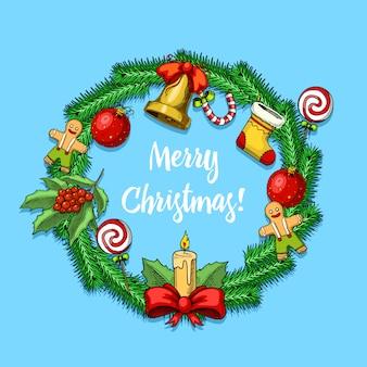 Gravierte hand gezeichnet in der alten skizze und im weinlesestil für etikett. frohe weihnachten weihnachten neujahr sammlung. winterferien dekoration. tannenbaumspielzeug, kerze und lebkuchen, stechpalmenlutscher, fichtenzweig.