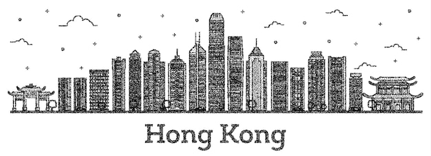 Gravierte hong kong china city skyline mit modernen gebäuden isoliert