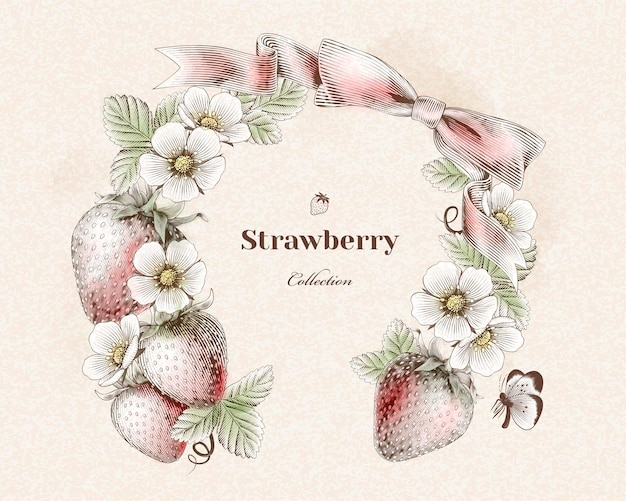 Gravierter erdbeer- und blumenkranz für designzwecke, bunte version