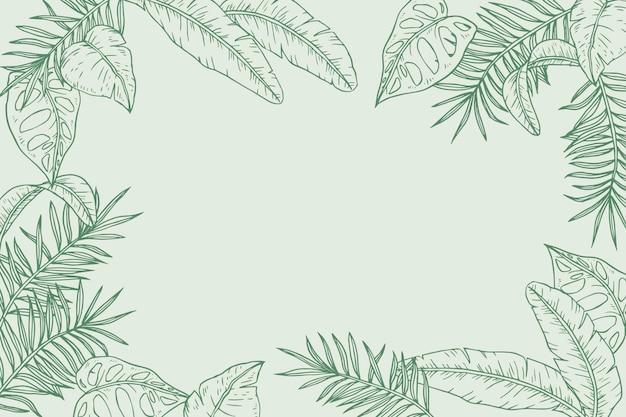 Gravierter handgezeichneter tropischer blätterhintergrund