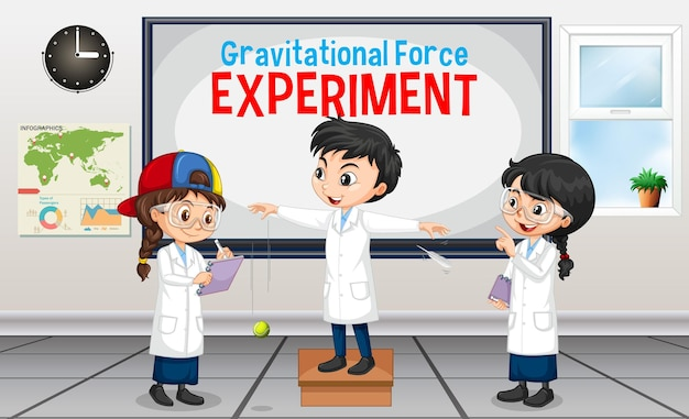 Gravitationskraftexperiment mit wissenschaftlerkinderzeichentrickfilm-figur