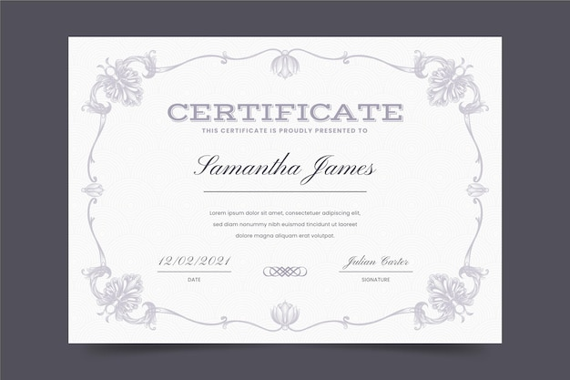 Gravur dekorative zertifikatvorlage
