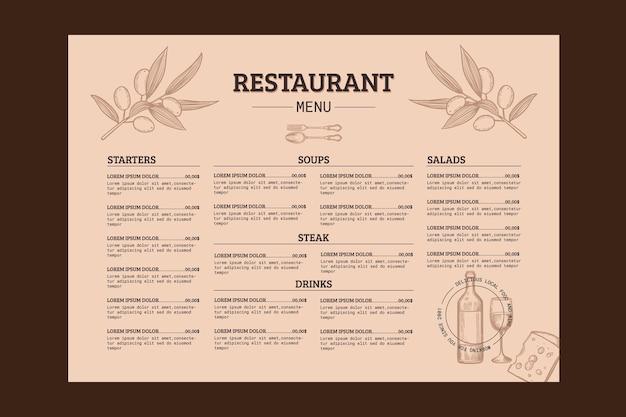Gravur hand gezeichnete rustikale restaurantmenüschablone