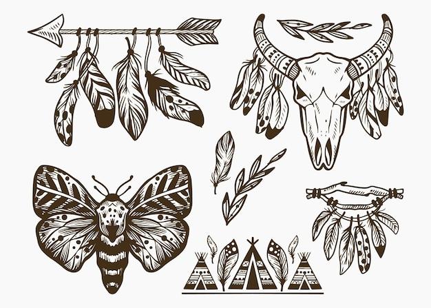 Gravur handgezeichnete boho-elementsammlung