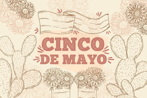 Gravur handgezeichnete cinco de mayo illustration