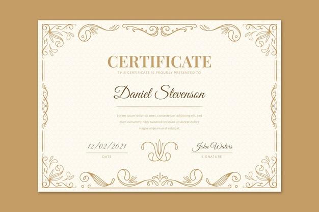 Gravur handgezeichnete dekorative zertifikatsvorlage