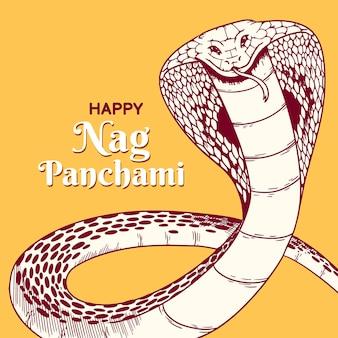 Gravur handgezeichnete nag panchami illustration