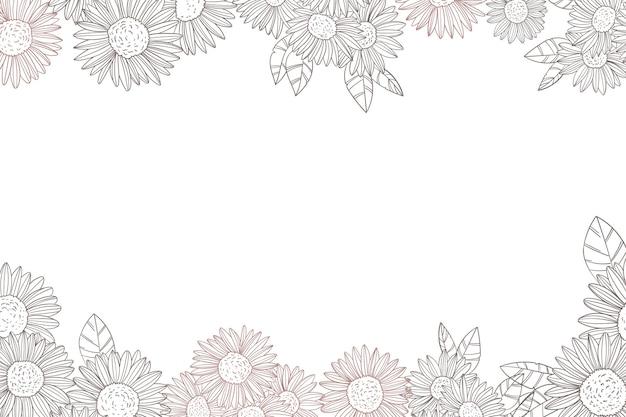 Gravur handgezeichnete sonnenblumengrenze mit kopienraum