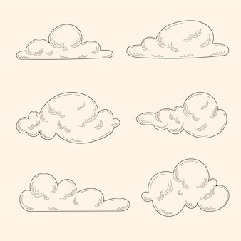 Gravur handgezeichnete wolkensammlung